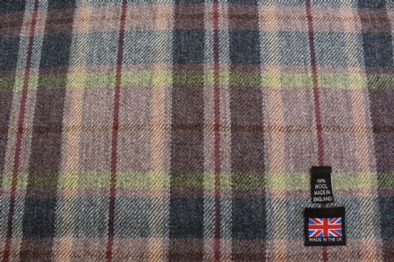 100% Pure New Wool Shetland Tweed Plaid Fabric CZ06